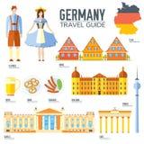 Kraju Niemcy podróży wakacje przewdonik towary, umieszcza i uwypukla Set architektura, ludzie, kultura, ikony Fotografia Royalty Free