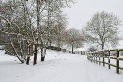 Kraju pas ruchu zakrywający w śniegu Obraz Royalty Free