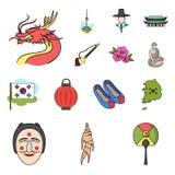 Kraju Południowego Korea kreskówki ikony w ustalonej kolekci dla projekta Podróży i przyciągania symbolu zapasu wektorowa sieć ilustracji