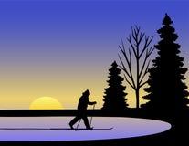 kraju przecinająca eps narciarki zima royalty ilustracja