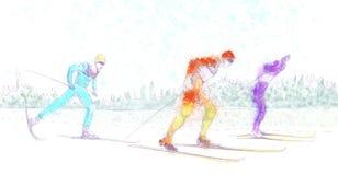 Kraju przecinający narciarstwo Zdjęcia Stock