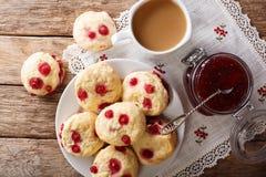 Kraju stylu scones z jagodami słuzyć z Angielską herbatą Fotografia Stock