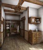 Kraju stylu skąpania dom, 3D odpłaca się Obraz Stock