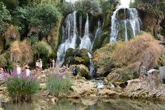 Krajviawatervallen stock foto's