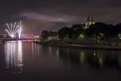 Krakà ³ w & x28; Cracow& x29; nocą, Polska Fotografia Royalty Free