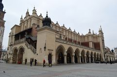 The Cloth Hall on Rynek Glowny Krakow. The Kraków Cloth Hall Polish: Sukiennice, in Lesser Poland, dates to the Renaissance and is one of the city`s most Stock Photography