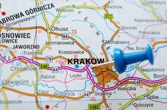 Kraków on map. With push pin. Cracow or Krakow Royalty Free Stock Photos