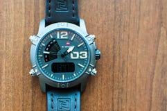 Kraków/Poland - 08.10.2017: A multifunctional watch from the brand NaviForce. Kraków/Poland - 08.10.2017: A multifunctional watch from the brand NaviForce stock images