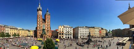 Kraków, Polonia - cuadrado de mercado principal Foto de archivo libre de regalías
