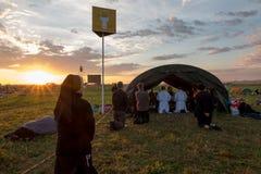KRAKÓW, POLONIA - 31 de julio de 2016, día de juventud de mundo y el católico Imagen de archivo libre de regalías