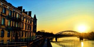 Kraków. Kraków river wisla sunset bridge Stock Photography