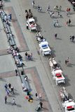 Detail of the carriages in the main market square at summer. View from St. Mary`s basilica tower. Krakow. Poland stock photos