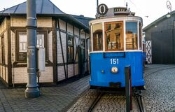 Kraków vintage blue tram, Poland Royalty Free Stock Photo