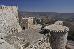Krak des Chevaliers. Transliterated Crac des Chevaliers, is a Crusader fortress in Syria and one of the most important preserved medieval military castles in Royalty Free Stock Images