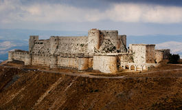 Krak des Chevaliers. Castle Krak des Chevaliers (kalaat al Hosn) in Syria royalty free stock photo