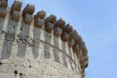 Krak des Chevaliers, crusaders fortress, Syria. Krak des Chevaliers, citadel tower, fortification castle walls , crusaders fortress, Syria Stock Image