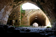 Krak des Chevaliers, crusaders fortress, Syria. Krak des Chevaliers, citadel tower, fortification castle walls , crusaders fortress, Syria Royalty Free Stock Photo