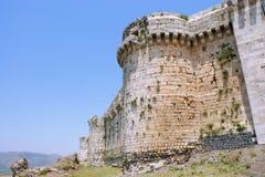 Krak des Chevaliers, crusaders fortress, Syria. Krak des Chevaliers, citadel tower, fortification castle walls , crusaders fortress, Syria Stock Photo