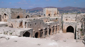 Krak des Chevaliers. Syria. Krak des Chevaliers is a crusader fortress in Syria Royalty Free Stock Photos