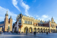 Kraków Cloth Hall and St. Mary's Basilica at the Main Market Square Royalty Free Stock Photos