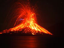 Krakatoa. Anak Krakatau, the child of mount krakatoa, erupting