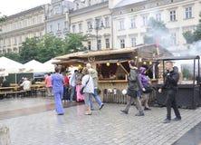 Krakau, 19 augustus 2014 - Marktkraam in Krakau, Polen Royalty-vrije Stock Afbeelding