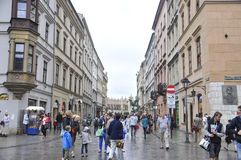 Krakau 19,2014 Augustus: Straat in Krakau, Polen Royalty-vrije Stock Afbeelding