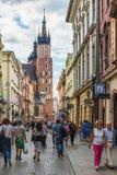 Krakau Glowny, de Basiliek van Heilige Mary ` s, Polen Stock Foto
