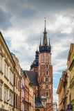 Krakau Glowny, de Basiliek van Heilige Mary ` s, Polen Royalty-vrije Stock Foto's