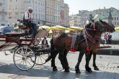 KRAKAU, POLAND/EUROPE - 19. SEPTEMBER: Wagen und Pferde in Kr Lizenzfreie Stockbilder