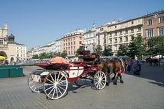 KRAKAU, POLAND/EUROPE - 19. SEPTEMBER: Wagen und Pferde in Kr Lizenzfreies Stockbild