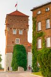 Krakau, Polen - 11. August 2017: Krakau, hoher Ziegelsteinturm - Waw Stockfotografie