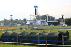KRAKAU, POLEN - 2016: Krakau Blonia, Weltjugend-Tag 2016, Querstation lizenzfreie stockbilder