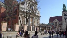 Krakau, Polen - de Lente, de Oude Stad van 2018 van Krakau stock videobeelden