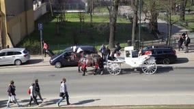 Krakau, Polen - de Lente, de Oude Stad van 2018 van Krakau stock footage