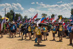 KRAKAU, POLEN - 31 JULI, 2016: Niet geïdentificeerde deelnemers van Worl Royalty-vrije Stock Fotografie