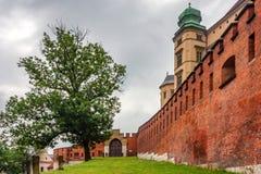 KRAKAU, POLEN - JUNI 2012: Wände von Wawel-Schloss Lizenzfreie Stockfotos