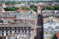 KRAKAU, POLEN - MEI 29, 2016: Luchtmening van het noordwestelijke deel van Krakau met oude historische Florianska-straat stock afbeeldingen