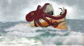 Kraken五颜六色的海的恐怖 向量例证