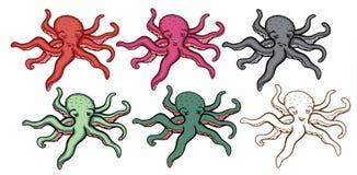Kraken-Abbildungs-Set Stockfotos