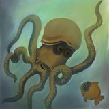 Kraken e peixes no mundo subaquático ilustração royalty free