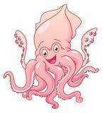 Kraken-Karikatur auf lokalisiertem Weiß Lizenzfreies Stockfoto
