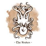 The Kraken. Legendary sea monster giant octopus vector Royalty Free Stock Photography
