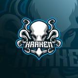 Kraken mascot logo design vector with modern illustration concept style for badge, emblem and tshirt printing. octopus