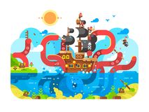 Kraken sea monster and sinks ship design flat Stock Images