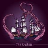 Kraken skissar illustrationen vektor illustrationer
