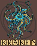 Kraken with title. Sketch of Kraken - mythical sea monster Royalty Free Stock Photo