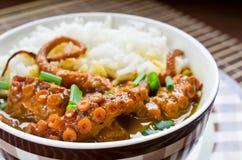 Krakencurry mit Reis und Schnittlauchen Stockfoto