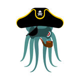 Krakenpirat poulpe Piratenschiff Augenklappe und Pfeife PU stock abbildung