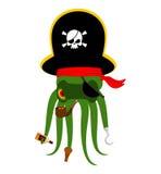 Krakenpirat poulpe Piratenschiff Augenklappe und Pfeife PU lizenzfreie abbildung